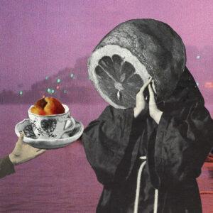 Image de science-fiction représentant un prêtre avec une t^te d'agrume qui accepte un café. Collage artistique