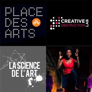 logos de place des arts, creative destruction lab, la science de l'art et bow't trail